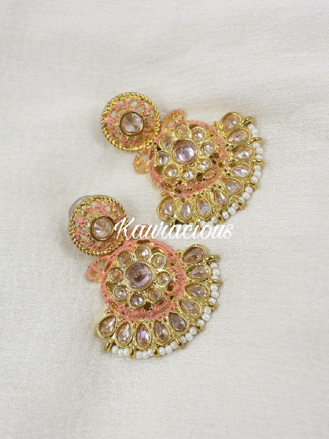 Reverse AD Studded Small Traditional Earrings | kauracious.com
