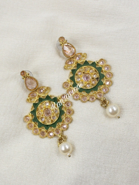 Reverse AD Studded Floral Shaped Traditional Earrings | kauracious.com