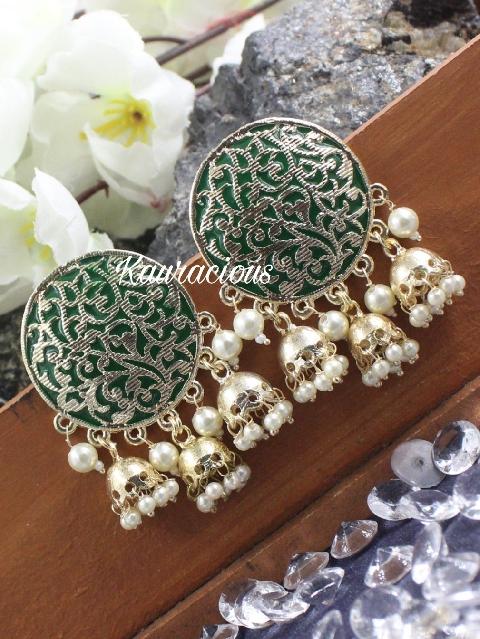 Oversized Stud Style Tripple Jhumki Earrings | kauracious.com