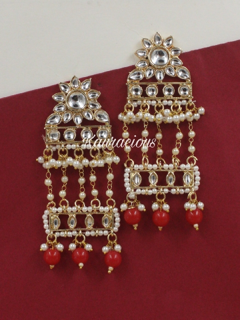 Faux pearl kundan drop earrings | Kauracious.com