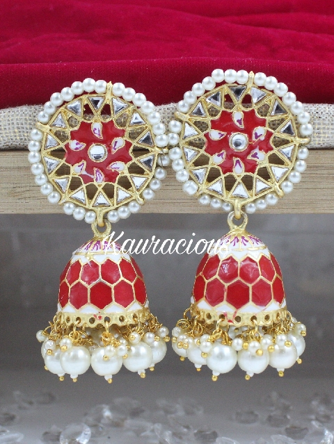Oversized Meenakari Jhumka Earrings | Kauracious.com