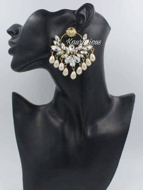 Floral Carved Oversized Fashion Earrings | Kauracious.com