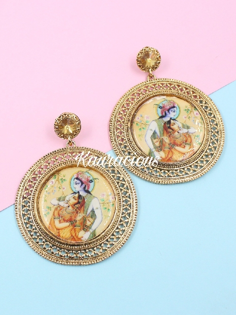 Oversized Radhe Krishna Meenakari Earrings | Kauracious.com