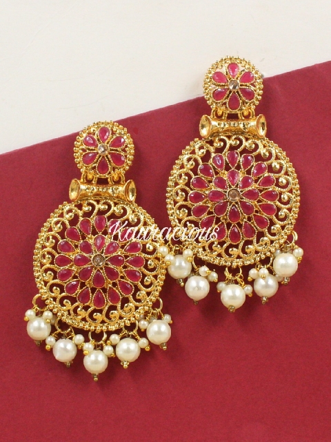 Crimson & Gold Toned Traditional Kundan Earrings | kauracious.com