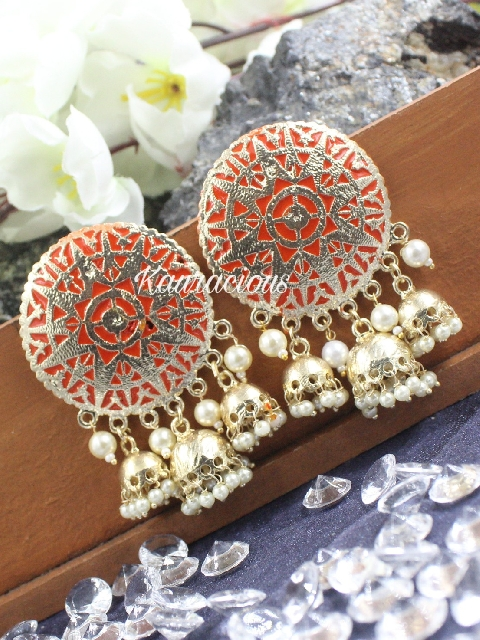 Oversized triple jhumki earrings | kauracious.com