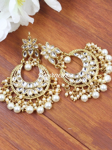 Faux stone studded traditional kundan earrings | Kauracious.com