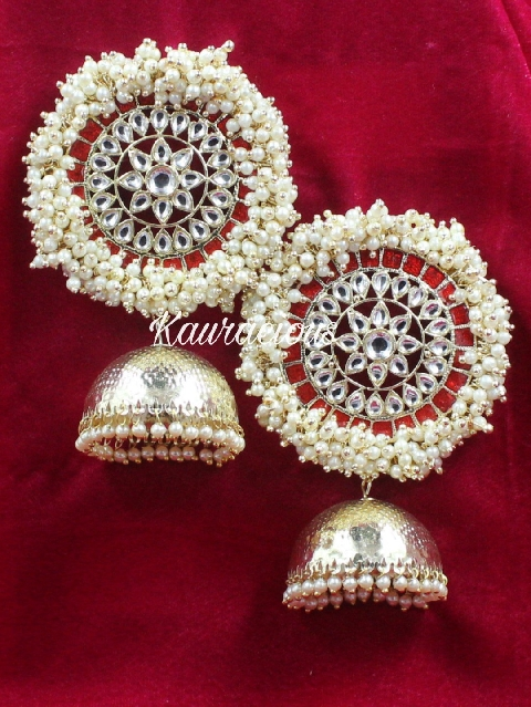 Pearl Beaded Oversized Jhumki Earrings | kauracious.com