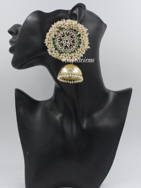 Pearl Beaded Oversized Jhumki Earrings   Kauracious.com