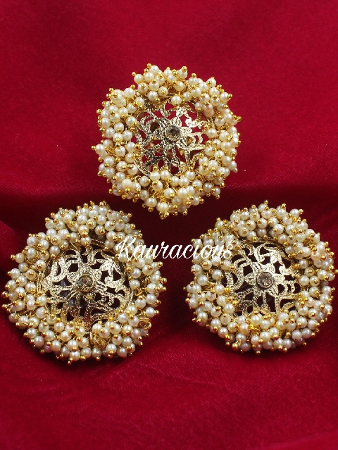 Pearl Beaded Oversized Studs with Ring Combo | Kauracious.com