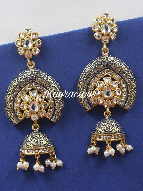 Blue meenakari earrings   Kauracious.com