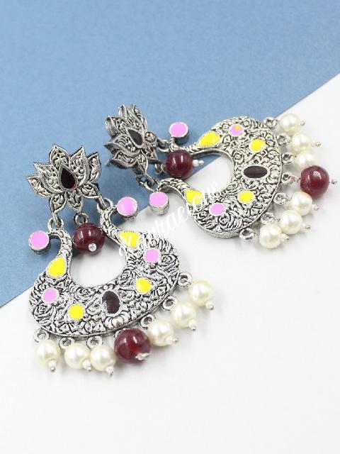 Lotus stud style oxidised earrings   Kauracious.com