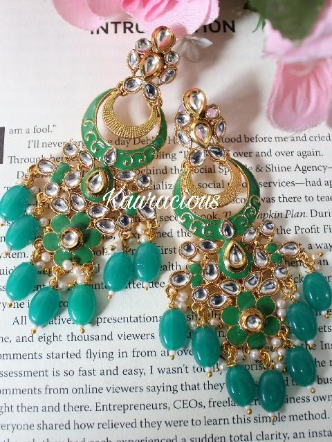 Emerald green colored meenakari dangler earrings | kauracious.com
