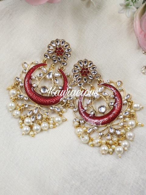 Faux kundan studded floral meenakari earrings | Kauracious.com