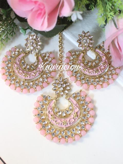 Pink Kundan and Meenakari Oversized Maang tikka set | kauracious.com