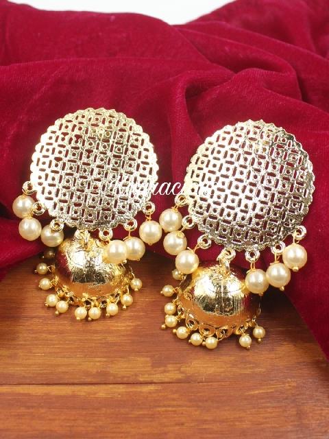 Dome shaped Oversized Traditional Jhumka Earrings | Kauracious.com