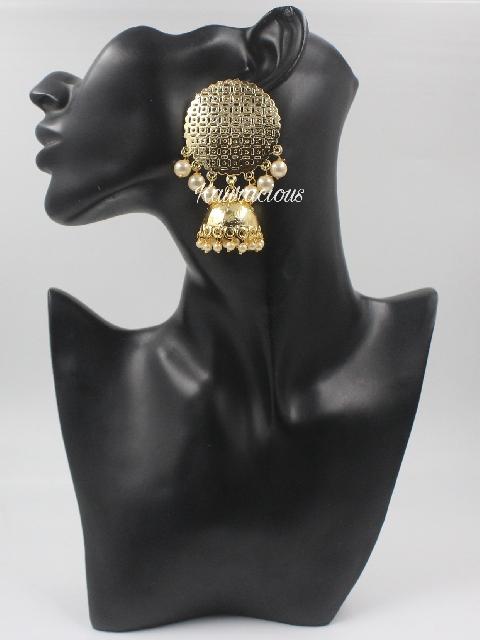Dome shaped Oversized Traditional Jhumka Earrings   Kauracious.com