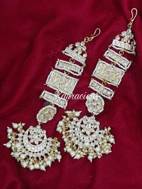 Kanpatti Kundan Earrings With Maang Tikka Set   Kauracious.com