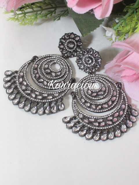 Black Metal Faux Stone studded chandbali earrings | kauracious.com
