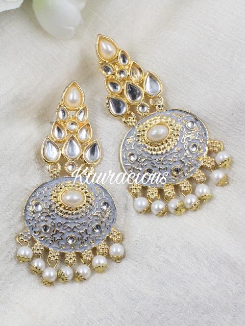 Gold-Platted Faux Stoned Kundan meenakari Traditional Earrings   Kauracious.com