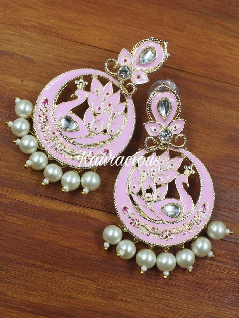 Gold plated & baby pink meenakari beaded traditional earrings | Kauracious.com