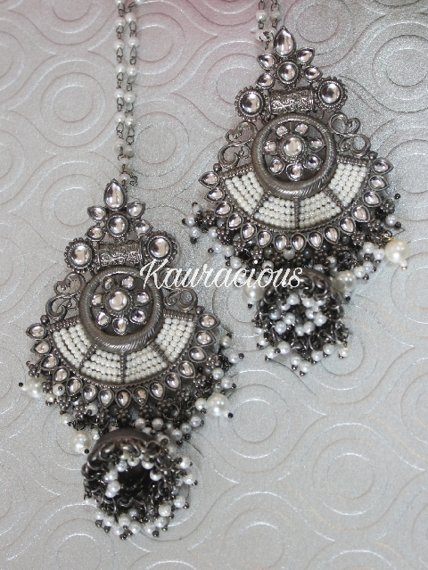 Black metal & white pearl jhumka earrings with saharas | kauracious.com