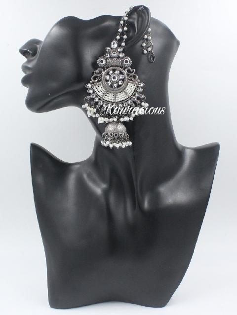 Black metal & white pearl jhumka earrings with saharas | Kauracious.com