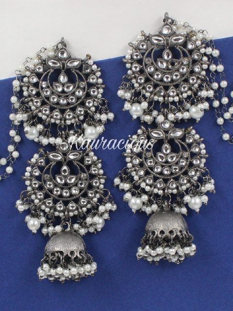 Black metal & white pearl layered jhumka earrings with saharas | kauracious.com