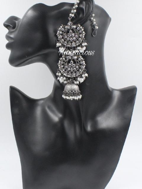Black metal & white pearl layered jhumka earrings with saharas | Kauracious.com