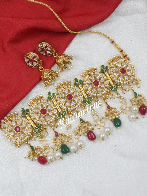 Faux red & green stone studded kundan choker set | kauracious.com