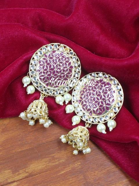 STud style meenakari jhumki | Kauracious.com