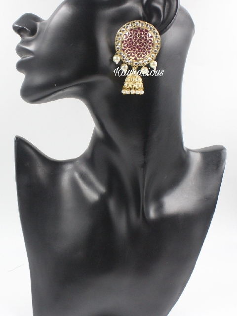 STud style meenakari jhumki   Kauracious.com