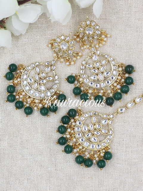Faux Kundan Studded Maang Tikka Set Earrings | kauracious.com