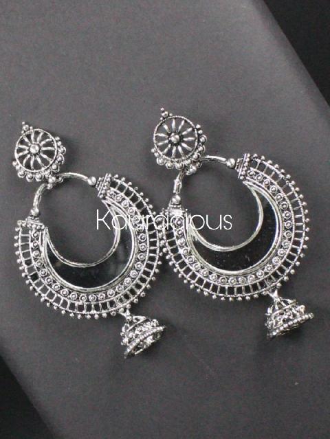 Oxidised Mirror Chandbali Earrings | Kauracious.com