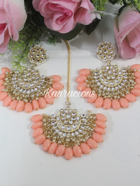 Floral stud style pearl beaded jhalar chandbali maang tikka set   Kauracious.com