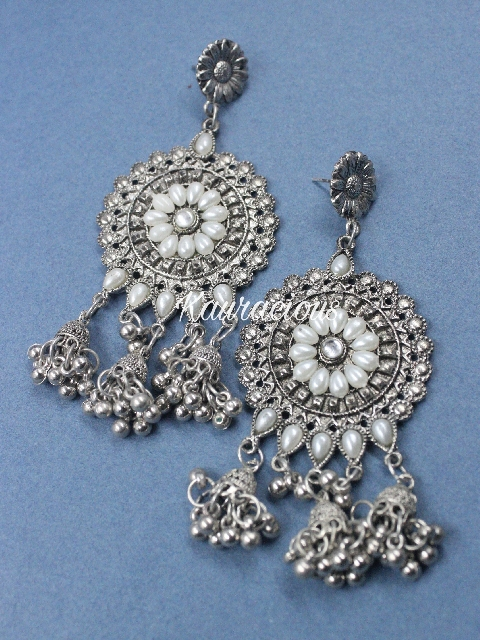 Tripple Jhumki danglers Oxidized Earrings  | Kauracious.com