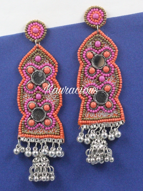 Handcrafted beads studded Oxidized Earrings | Kauracious.com