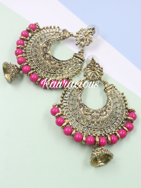 Oxidized Gold Based Pearl Beaded Chandbali Earrings | kauracious.com