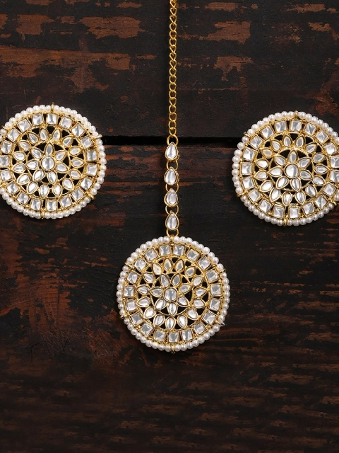 Faux Kundan Oversized stud style Maang tikka and Earrings set | kauracious.com
