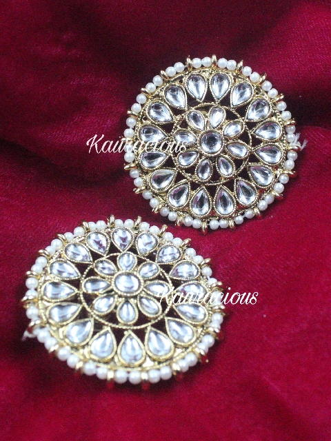 Antique gold Floral pattern Oversized Studs Earrings | Kauracious.com