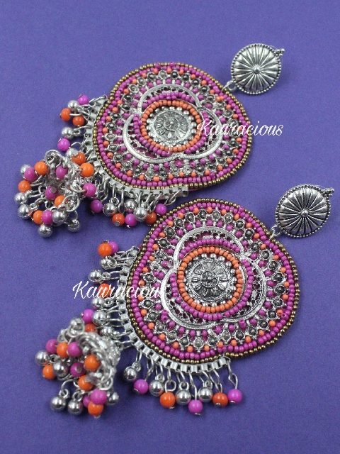 Handmade Oxidized Big Statement Earrings | Kauracious.com