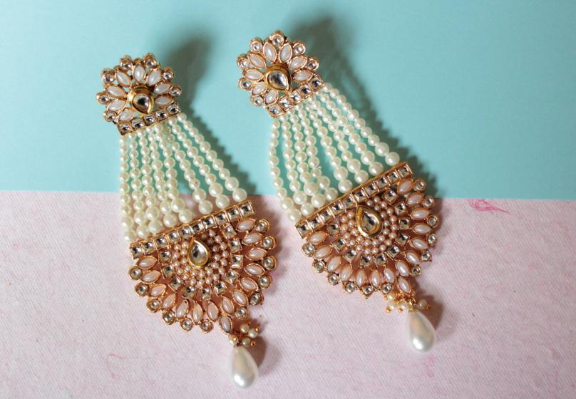 Kundan Studded Pearl Danglers | kauracious.com