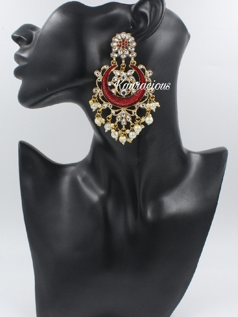 Faux Kundan Studded Floral Meenakari Earrings | Kauracious.com