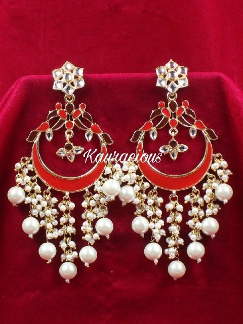 Pearl Beaded Meenakari Layered Chandbali Earrings | kauracious.com