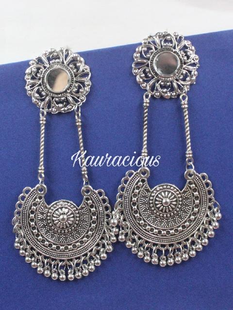 Mirror Chandbali Oxidized Earrings | kauracious.com