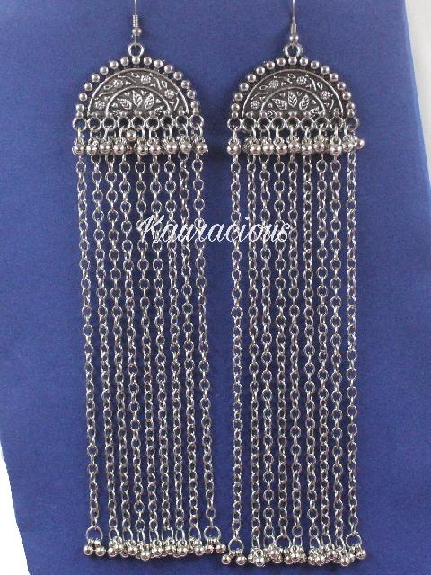 Long Oxidized Danglers Earrings | kauracious.com