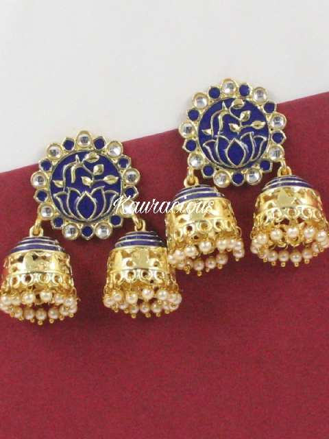 Meenakari Jhumki Earrings | Kauracious.com
