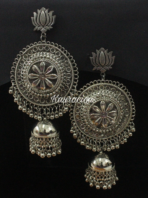 Lotus Jhumki Danglers Earrings | kauracious.com