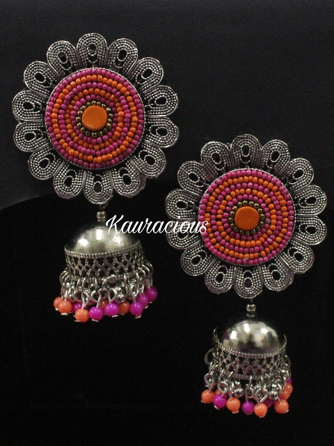 Handwork Oversized Stud style Oxidized Jhumki Earrings | kauracious.com