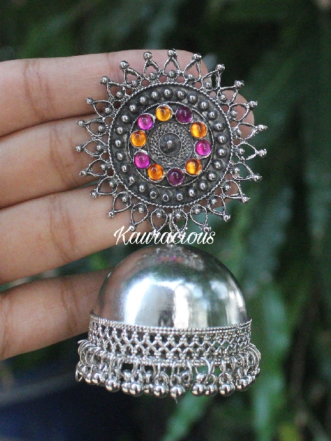 DOme Shaped Oversized Oxidised Jhumki Earrings | kauracious.com