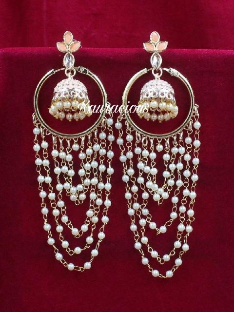 Pearl Layered Jhumki Attached Meenkari Earrings | kauracious.com